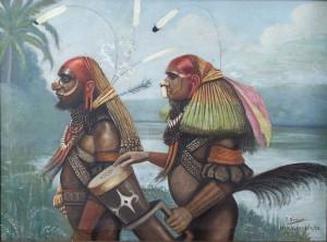 Schilderij-van-twee-Marind-krijgers